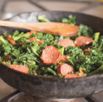 Braised Kale with Sausage